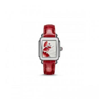 Deco 16, Ginkgo Dial Garnet Alligator Watch