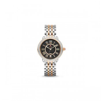 Serein 16 Diamond Two-Tone Rose Gold, Black Diamond Dial Watch