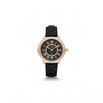 Serein 16 Diamond Rose Gold, Black Diamond Dial Black Alligator Watch