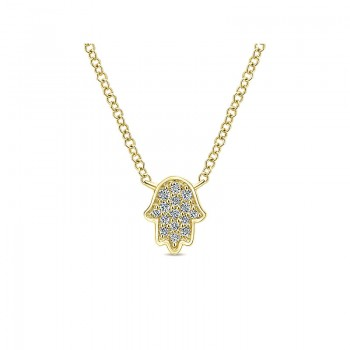 Gaby Necklace 14k Yellow Gold Diamond Hand Of God