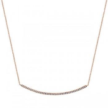 14k Pink Gold Diamond Bar Necklace