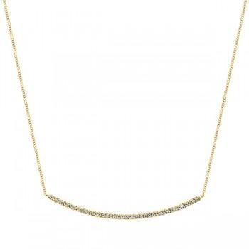 14k Yellow Gold Diamond Bar Necklace