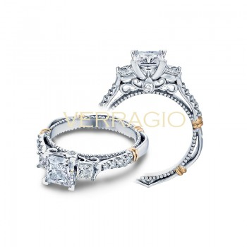 Verragio Three Stone Pave Diamond Engagement Ring