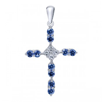 14k White Gold Diamond And Sapphire Cross Cross Pendant