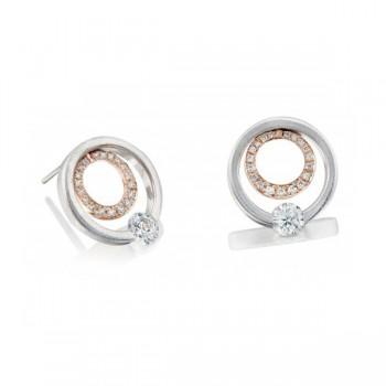Gelin Abaci 14k White and Rose Gold Diamond Earring TE-017