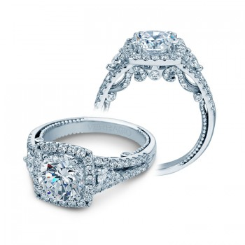 Verragio Three Stone Halo Split Shank Engagement Ring