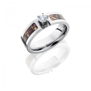 Lashbrook Cobalt Chrome 5mm Flat Band With 3mm Of Mossyoak And White Gold Crown And .25 Round Cut Cu