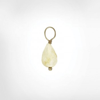 Gold Rutilated Quartz Faceted Drop