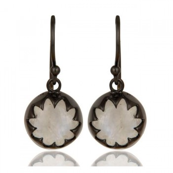 Lotus Earrings In Oxidized Reclaimed Sterling Silver