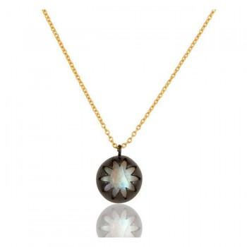 Lotus Pendant In Reclaimed Sterling Silver + 22K Gold Vermeil