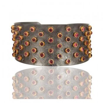 Melrose Tourmaline Cuff In Reclaimed Sterling Silver + 22K Gold Vermeil