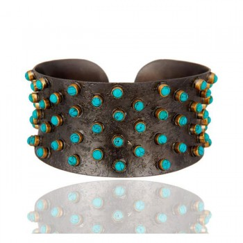Melrose Turquoise Cuff In Reclaimed Sterling Silver + 22K Gold Vermeil