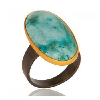 Large Oval Turquoise Ring In Mixed Metals