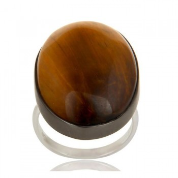 Tiger'S Eye Ring In Mixed Metal