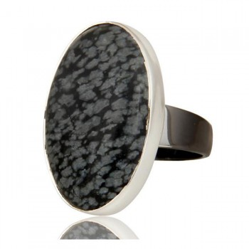 Snowflake Obsidian Ring In Mixed Metal