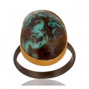 Boulder Tourquoise Ring In Mixed Metal