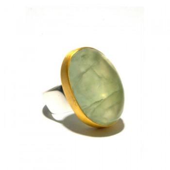 Mixed Metal Prehnite Ring