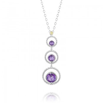 Skipping Stone Necklace featuring Amethyst