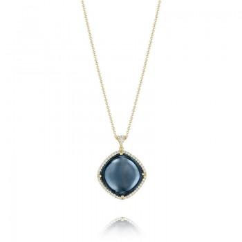Pavé Cushion Pendant featuring Sky Blue Topaz over Hematite