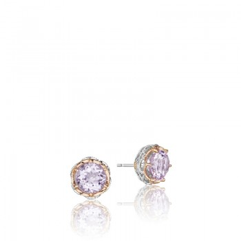 Crescent Crown Studs featuring Rose Amethyst se105P13