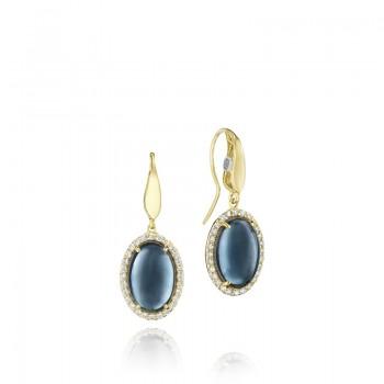 Pavé Gem Coin Drop Earrings featuring Sky Blue Topaz over Hematite