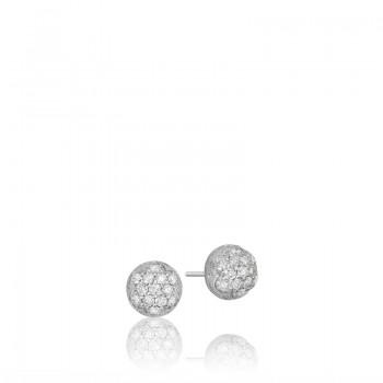 Petite Dew Drop Stud featuring Pavé Diamonds