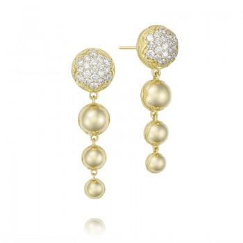 Ascending Drop Earrings featuring Pavé Diamonds SE207Y