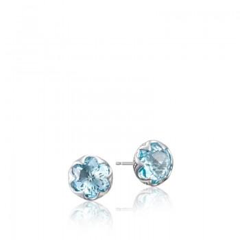Crescent Bezel Earrings featuring Sky Blue Topaz