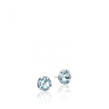 Petite Crescent Bezel Earrings featuring Sky Blue Topaz