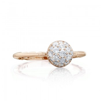 Petite Pavé Dew Drop Ring in Rose Gold with diamonds