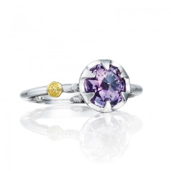 Petite Crescent Bezel Ring featuring Amethyst