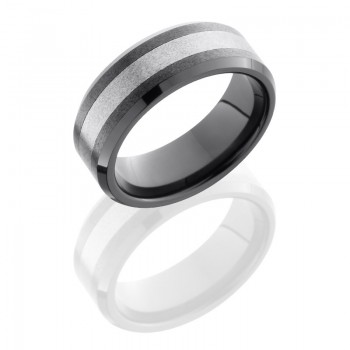 Lashbrook Ceramic And Tungsten 8mm Beveled Band TCR8335