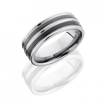 Lashbrook Ceramic And Tungsten 8mm Flat Band TCR8347