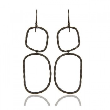 The Bowery Double Drop Earrings In Oxidized Reclaimed Sterling Silver