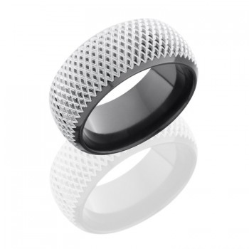 Lashbrook Zirconium 10mm Domed Band With Beveled Edges And Knurl Pattern Z10DB/KNURL