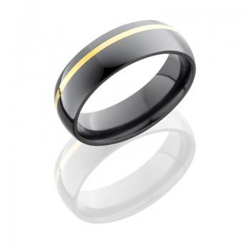 Lashbrook Zirconium 6mm Domed Band With 1mm 14Ky Z6D11OC/14KY
