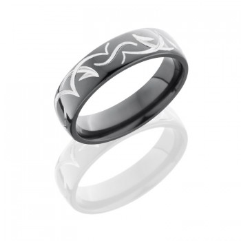 Lashbrook Zirconium 6mm Domed Band With Tribal Pattern Z6D/TRIB