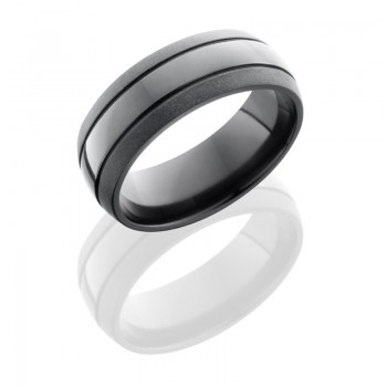 Lashbrook Zirconium 8mm Domed Band With Two .5mm Grooves Z8D2.5