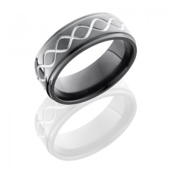 Lashbrook Zirconium 8mm Flat Band With Grooved Edges And Infinity Pattern Z8FGE/TALLINF