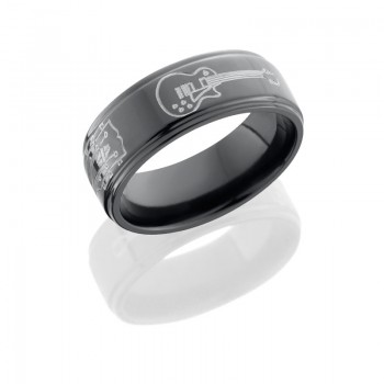 Lashbrook Zirconium 8mm Flat Band With Grooved Edges With Milled Guitar Patterns Z8FGE/GUITAR